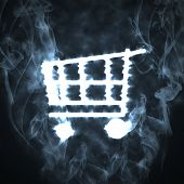 illustration of the shopping cart in the smoke poster