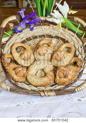Homemade Easter donuts cuddure eggs in Sicily