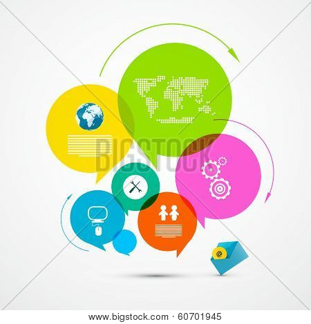 Colorful Web Template - Circle Paper Vector Infographic Layout