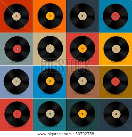 Retro, Vintage Vector Vinyl Record Disc Set on Colorful Background