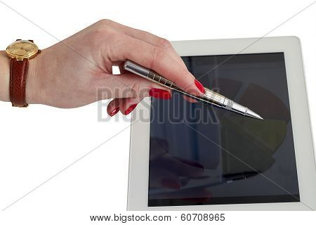 Businesswoman Showing A Grap On  A Tablet  Screen At Office