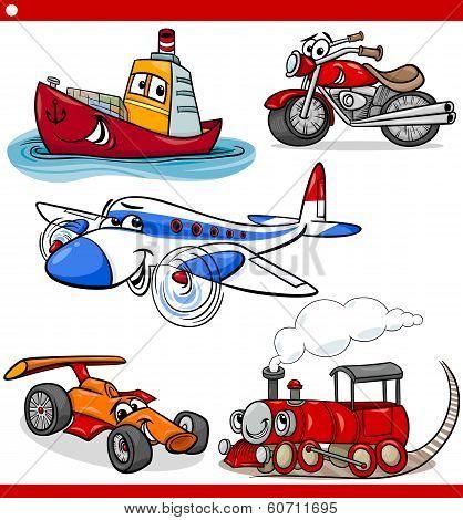 Funny Cartoon Vehicles And Cars Set