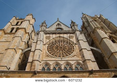 Front Of The Cathedral Of Leon