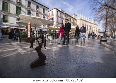 Wood Carving Of The Maternity On A Bank Of Plaza Nueva In Granada, Spain