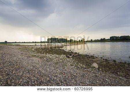 Sunset On Rhine River Near Duesseldorf Germany, Landscape