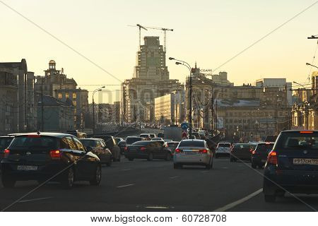 Traffic Jam In Moscow Evening