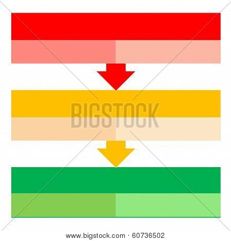 Red, orange and green shape to describe process with arrows in white background poster