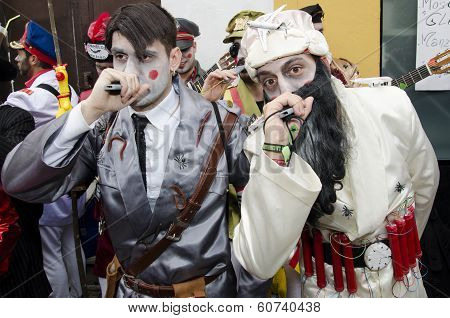 men dressed Hitler and Bin Laden