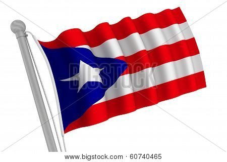 Puerto Rico Flag On Pole