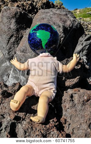 Vintage Old Doll with a Globe