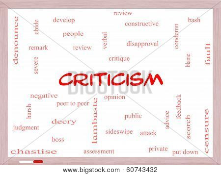 Criticism Word Cloud Concept On A Whiteboard