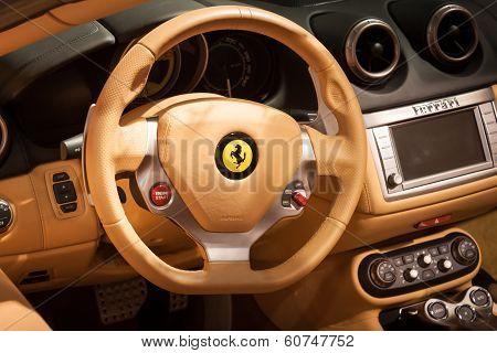 Detail Of Ferrari Cockpit At Mido 2014 In Milan, Italy