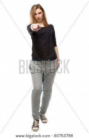 Young Woman Pointing An Accusatory Finger