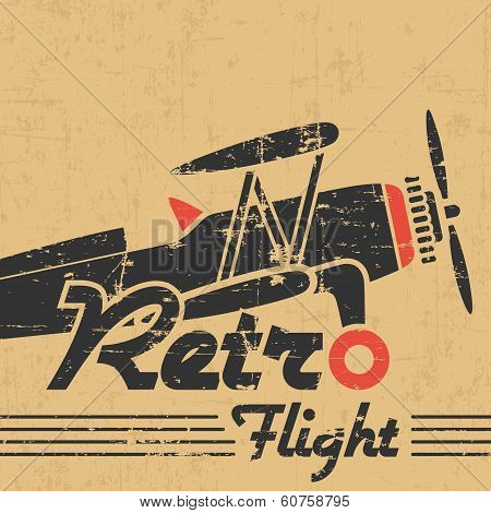 Retro plane emblem; gray grunge silhouette and text on old paper poster