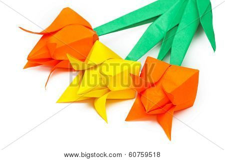 Three Paper Tulips On A White Background