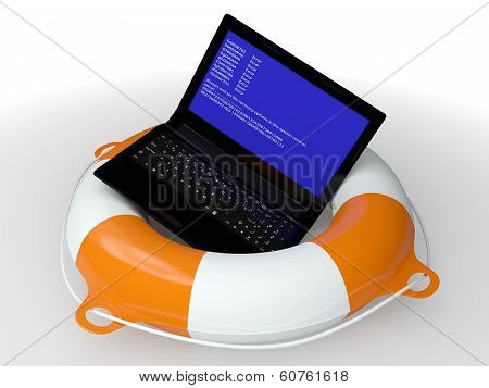 Lifebuoy Ring And Faulty Computer