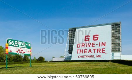 Route 66: 66 Drive-in Theatre and Neon Sign Carthage, MO