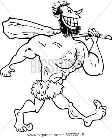 Caveman Cartoon Coloring Page