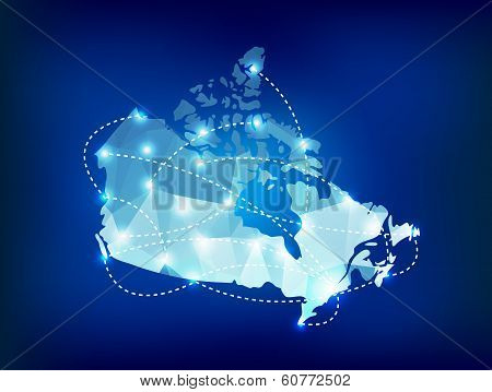 Canada Country Map Polygonal With Spot Lights Places