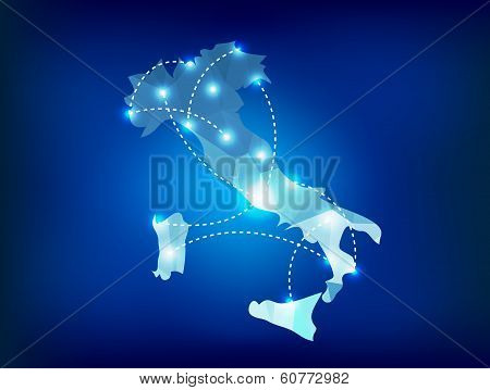 Italy Country Map Polygonal With Spot Lights Places