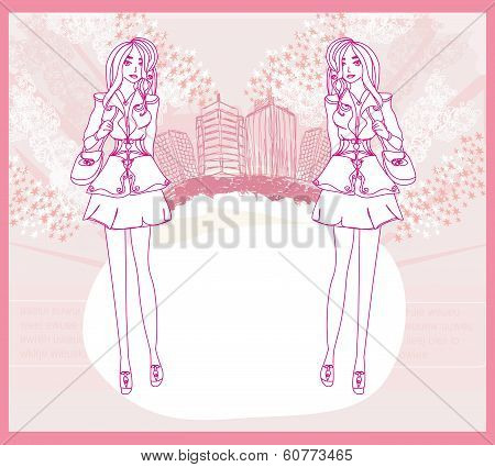Doodle Fashion Girl Shopping - Abstract Pink Card
