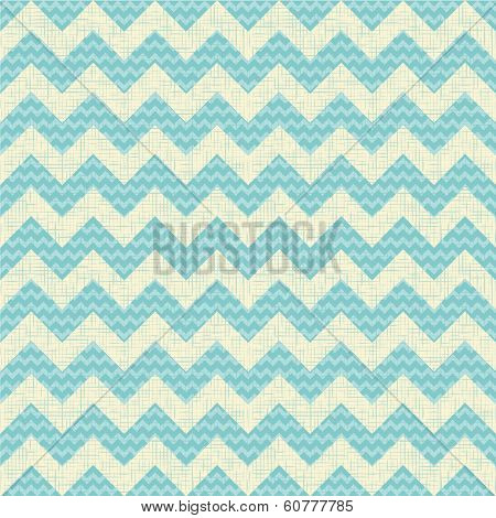 vector Seamless chevron pattern on linen turquoise canvas background. Vintage rustic burlap zigzag poster