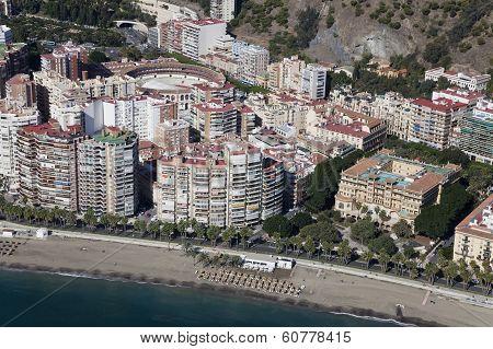 Malaga City Downtown Beach Seen From The Air.