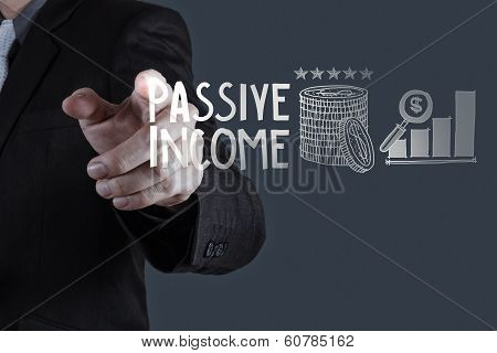 Businessman Hand Pointing  Passive Income Touch Screen Computer As Concept