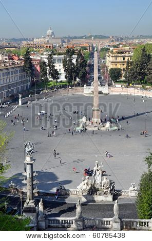View Over Rome From The Piazza Del Popolo, Italy