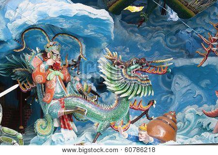 Chinese King Neptune Riding Dragon Diorama