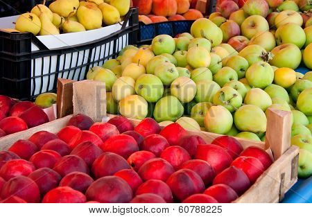 Fresh Organic Fruits At A Street Market