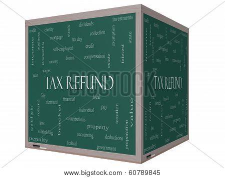 Tax Refund Word Cloud Concept On A 3D Cube Blackboard