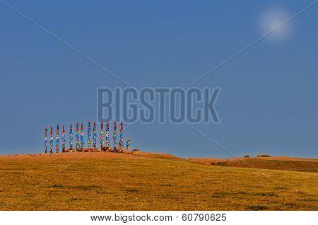 Buryat Pillars In Field