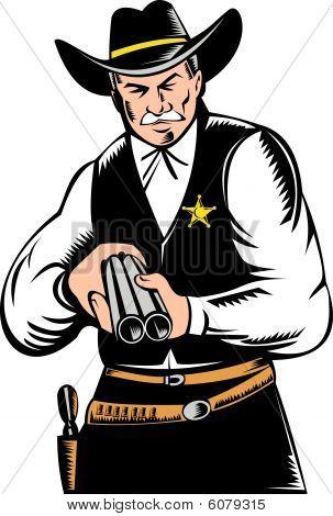 Sheriff pointing a shotgun at you
