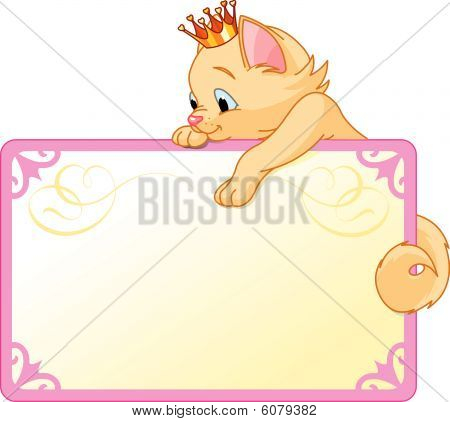 Cute  Cat Princess  on a place card or invite. Ideal for little girls parties and promotions. poster