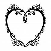 Vector Deco Floral Heart. Patterned Design element poster