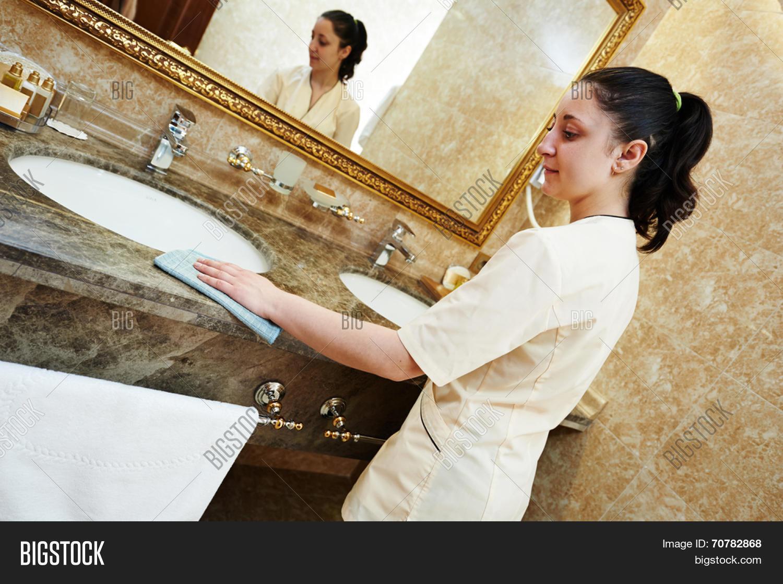 Hotel Service Female Image Photo Free Trial Bigstock - Bathroom maid