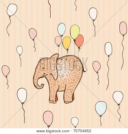 Seamless pattern with flying elephant