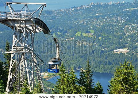 VANCOUVER, CANADA JULY 14: View of the Skyride on July 14, 2014 From Grouse Mountain.