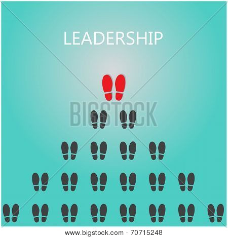 Shoe prints with leadership concept, black vector trail foot, shoes silhouette.Vector illustration poster