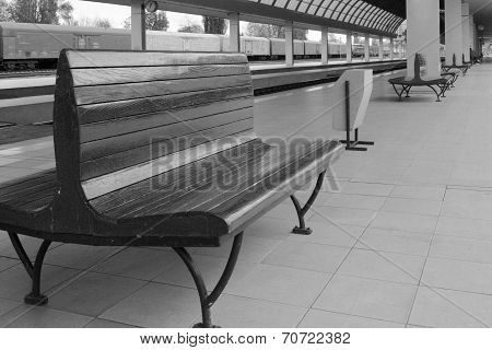 Empty Benches At Railway Station