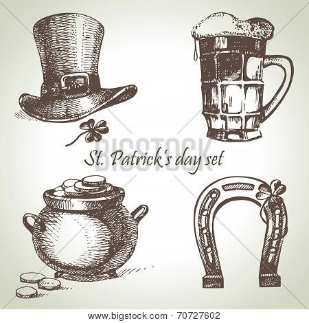 St. Patrick's Day set. Hand drawn illustrations