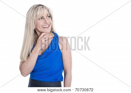 Isolated Pretty Blond Business Woman With Sideways View Over White Background.