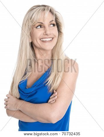 Isolated Happy Mature Woman With Crossed Arms Over White Background.