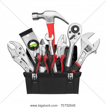 Many Tools in tool box, isolated on white background