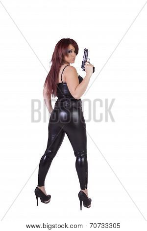 Sexy Girl With Guns Isolated On White Background