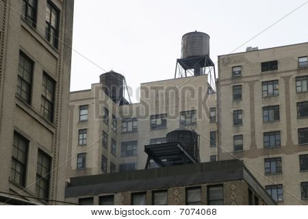 Watertank On Top Of New York Building