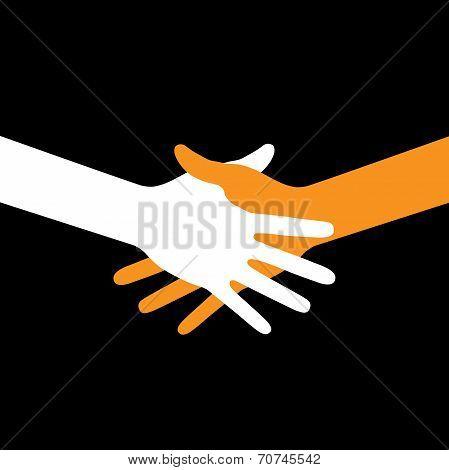 Colorful icon hand shake on black background