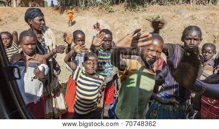 Unidentified Ethiopian Children In Small Village. Arfaide (near Karat Konso). Ethiopia.