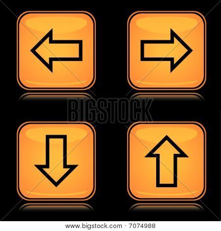 Set of yellow square arrow icons with reflection